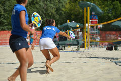 Beach Tennis World Team Championship 2014. Moscow, Russia - July 19, 2014: Woman double of Italy in the match against Russia during ITF Beach Tennis World Team Stock Photography