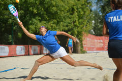 Beach Tennis World Team Championship 2014. Moscow, Russia - July 19, 2014: Woman double of Italy in the match against Russia during ITF Beach Tennis World Team Royalty Free Stock Images