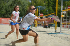 Beach Tennis World Team Championship 2014. Moscow, Russia - July 19, 2014: Woman double of Russia in the match against Italy during ITF Beach Tennis World Team Stock Image