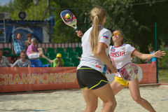 Beach Tennis World Team Championship 2014. Moscow, Russia - July 19, 2014: Woman double of Russia in the match against Venezuela during ITF Beach Tennis World Stock Photography