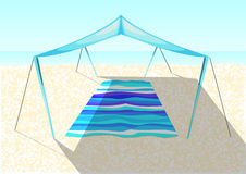 Beach tent on a sand Stock Image