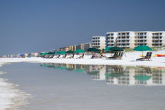 Beach tents reflecting in the water. Ocaloosa Island royalty free stock photos