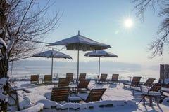 Beach terrace Sunny day winter edition. Snow terrace. Royalty Free Stock Photo