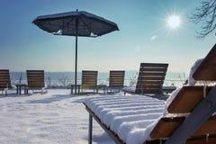 Beach terrace Sunny day winter edition. Snow terrace. Royalty Free Stock Photography