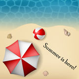 Beach text frame with umbrella and ball Stock Images