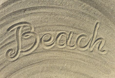 Beach text write on the sand Royalty Free Stock Photography