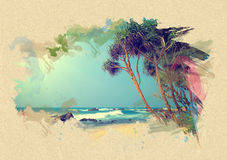 Beach on textured paper. Brush effect Stock Image