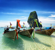 Thai boats on Phra Nang beach, Thailand Stock Photo