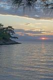 Beach in Thasos, Greece. Beach on Thasos Island, Greece by sunset Stock Photos