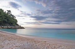 Beach in Thasos, Greece. Saliara (Marble) beach on Thasos Island, Greece by sunset Royalty Free Stock Image