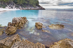 Beach in Thasos, Greece. Saliara (Marble) beach on Thasos Island, Greece by sunset Royalty Free Stock Images