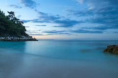 Beach in Thasos, Greece. Saliara Marble beach on Thasos Island, Greece by sunset Royalty Free Stock Images