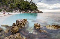 Beach in Thasos, Greece. Saliara Marble beach on Thasos Island, Greece by sunset Stock Image