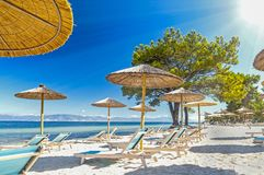Beach in Thasos, greek island. Beach & x28;Pachis& x29; in Thasos island, Greece, crystal clear Aegean Sea water Royalty Free Stock Image