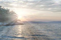 Beach in Thasos, Greece. Beach on Thasos Island, Greece by sunset Stock Photography