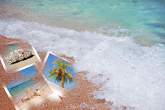 Beach theme collage composed of few photos Royalty Free Stock Images