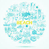 Beach theme doodle set Stock Image