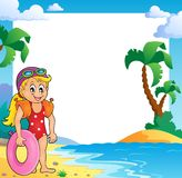 Beach theme frame with girl swimmer Stock Photo