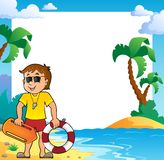 Beach theme frame with life guard Royalty Free Stock Images