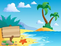 Beach theme scenery 2. Vector illustration Stock Photo