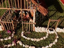Beach-themed nativity scene at Christmas in Akumal, Mexico Stock Photo