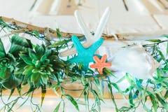 Beach Themed Ocean Wedding Reception Decorations Royalty Free Stock Photos