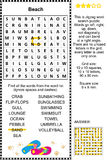 Beach themed wordsearch puzzle Royalty Free Stock Images