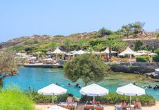 Beach within the thermal springs Kallithea.Rhodes Island. Greece Royalty Free Stock Photos