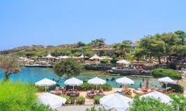 Beach within the thermal springs Kallithea. Rhodes Island Stock Image