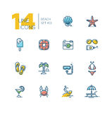 At the Beach - thick line icons set Royalty Free Stock Image
