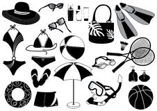Beach things. Black silhouettes of things for beach Stock Image