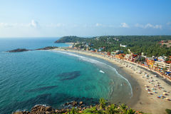 Beach in Thiruvananthapuram. Beautiful landscape of beach and clear turquoise sea. Thiruvananthapuram, India Royalty Free Stock Photos