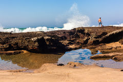 Beach Tidal Rocks Waves Male  Royalty Free Stock Photography