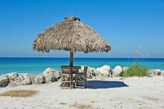 Beach Tiki Hut Bar. On the Ocean Stock Images