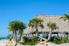 Beach Tiki Hut Bar. On the Ocean Stock Photo