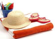 Beach Time. Items necessary for the beach on a white background Royalty Free Stock Images