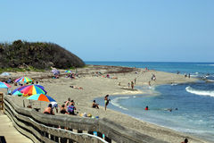 Beach Time. A shot of the florida coastline beach at McArthur park with people enjoying the day Royalty Free Stock Photo