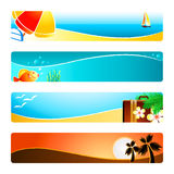 Beach time banners. Beach time banner or header 4-color backgrounds set Royalty Free Stock Photo