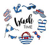 Beach time  illustration. Swimsuit, eyeglasses, anchor, flipflops, tote bag and beach hat on white background. Stock Photo