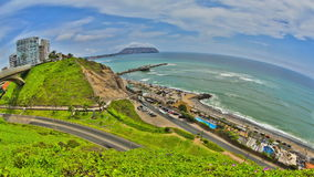 Beach Time Lapse Lima HDR. V65. HDR time lapse of beach and traffic in Lima stock video footage