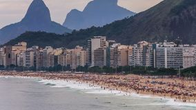 Beach Time Lapse Rio Copacabana Zoom. V67. Zooming time lapse of Copacabana beach in Rio De Janeiro stock video footage