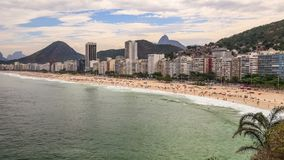Beach Time Lapse Rio Copacabana Zoom. V68. Zooming time lapse of Copacabana beach in Rio De Janeiro stock video footage