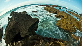 Beach Time Lapse Rocks Fisheye stock video footage