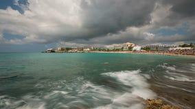 Beach Time Lapse Saint Martin. V70 Panning time lapse of famous runway beach in Saint Martin stock footage