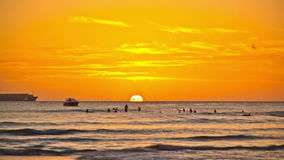 Beach Time Lapse Sunset. V28. Beautiful beach time lapse clip of surfers and boats going by during sunset stock video