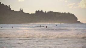 Beach Time Lapse Surfers. V3. Beach time lapse clip of waves and surfers stock video