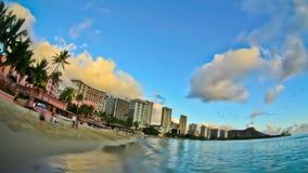 Beach Time Lapse Waikiki Fisheye. V14. Beautiful beach time lapse clip of Waikiki using fisheye lens stock video footage