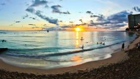 Beach Time Lapse Waikiki Sunset. V15. Beautiful beach time lapse clip during sunset in Waikiki stock video