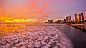 Beach Time Lapse Waikiki Sunset. V25. Beautiful beach time lapse clip of waves and Waikiki during sunset stock footage