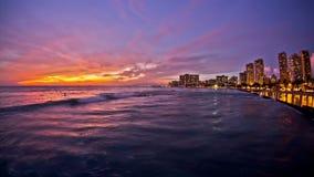 Beach Time Lapse Waikiki Sunset. V26. Beautiful beach time lapse clip of waves and Waikiki during sunset stock footage